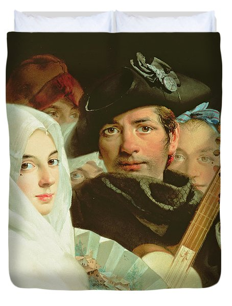 An Elegant Couple From Madrid, C.1770 Oil On Canvas Duvet Cover