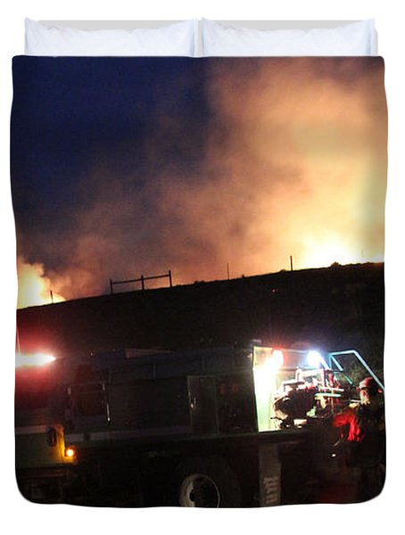 Duvet Cover featuring the photograph An Engine Crew Works At Night On White Draw Fire by Bill Gabbert