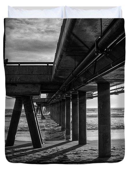 An Evening At Venice Beach Pier Duvet Cover by Ana V Ramirez