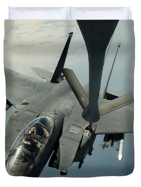 An F-15e Strike Eagle Receives Fuel Duvet Cover by Stocktrek Images
