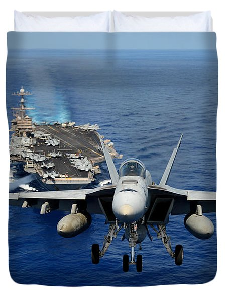 Duvet Cover featuring the photograph An Fa-18 Hornet Demonstrates Air Power. by Paul Fearn