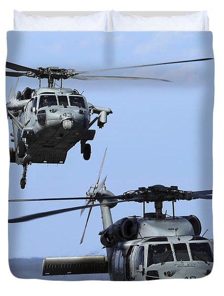 An Mh-60s Sea Hawk Approaches Duvet Cover