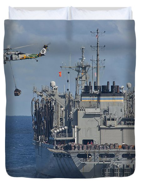 An Mh-60s Sea Hawk Conducts A Vertical Duvet Cover by Stocktrek Images