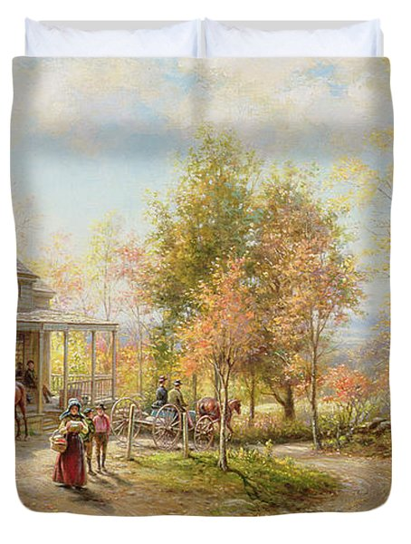 An October Day Duvet Cover by Edward Lamson Henry