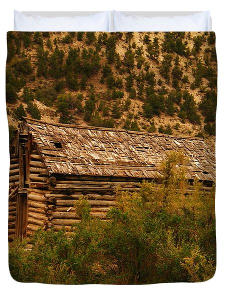 An Old Cabin In Utah Duvet Cover by Jeff Swan