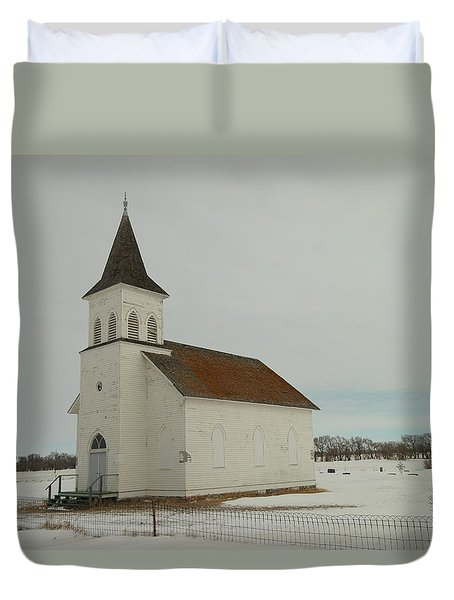 An Old Church In North Dakota Duvet Cover by Jeff Swan