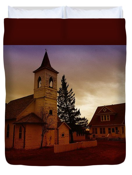An Old Church In Williston North Dakota  Duvet Cover by Jeff Swan