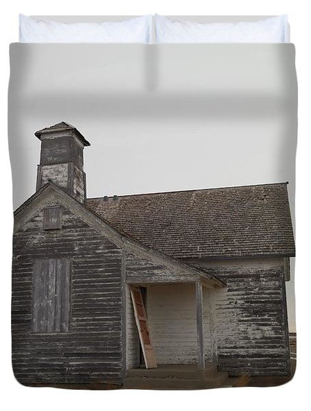 An Old Church On The Prairie  Duvet Cover by Jeff Swan