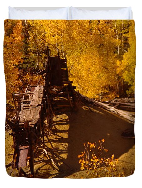 An Old Colorado Mine In Autumn Duvet Cover by Jeff Swan