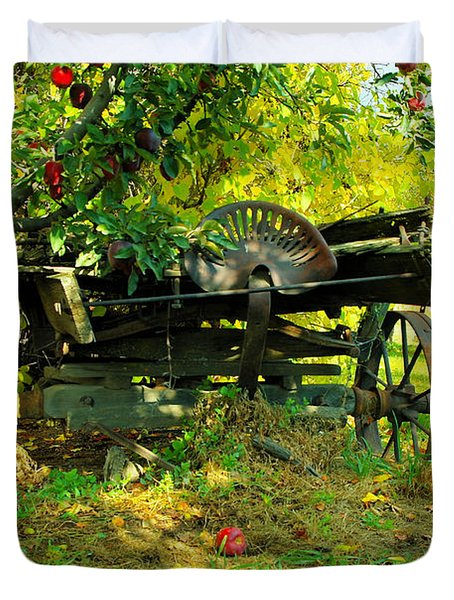 An Old Harvest Wagon Duvet Cover by Jeff Swan