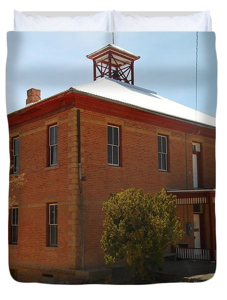 An Old School In White Oaks New Mexico Duvet Cover by Jeff Swan
