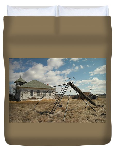 An Old School Near Miles City Montana Duvet Cover by Jeff Swan