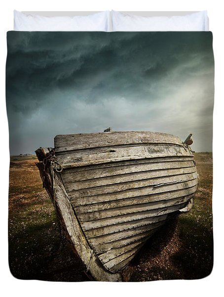 An Old Wreck On The Field. Dramatic Sky In The Background Duvet Cover