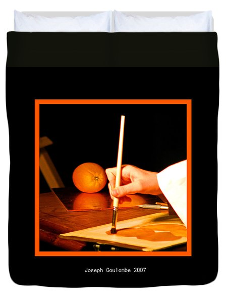 An Orange And A Brush Duvet Cover