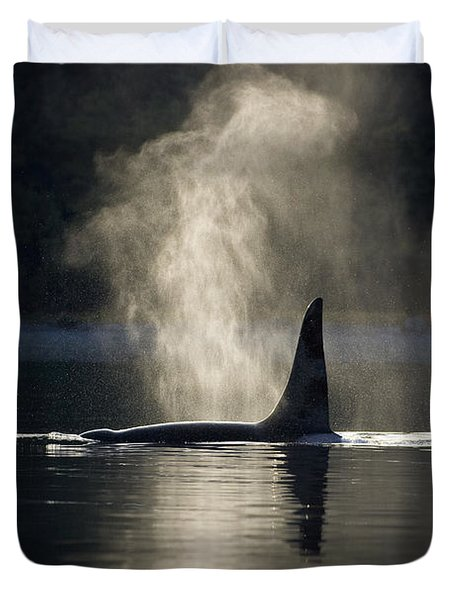 An Orca Whale Exhales Blows Duvet Cover by John Hyde