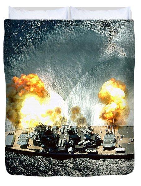 An Overhead View Of The Battleship Uss Iowa Bb61 Firing All 15 Of Its Guns Duvet Cover
