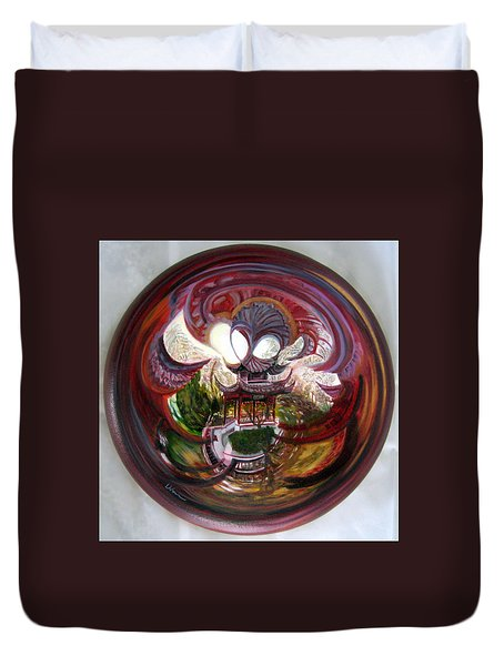 Duvet Cover featuring the painting Anamorphic Chinese Pagoda by LaVonne Hand