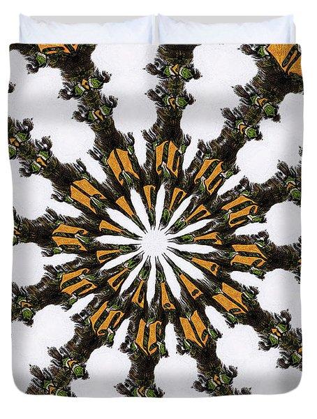 Duvet Cover featuring the digital art Ananasi Mandala by Lisa Brandel