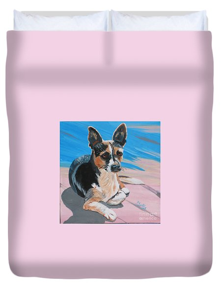 Ancho A Portrait Of A Cute Little Dog Duvet Cover by Phyllis Kaltenbach