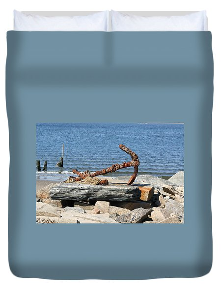 Duvet Cover featuring the photograph Anchor by Karen Silvestri
