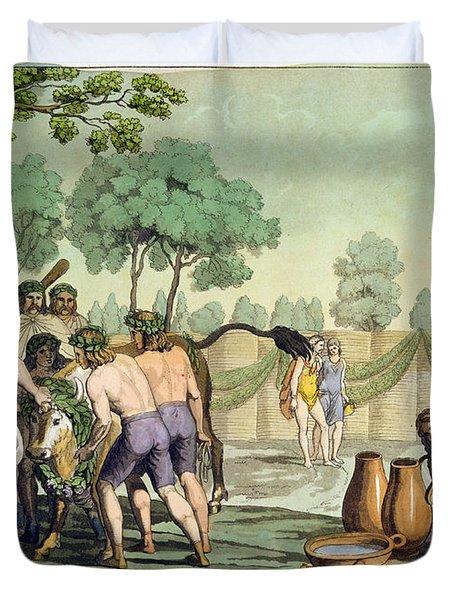 Ancient Celts Or Gauls Sacrificing Duvet Cover by Vittorio Raineri