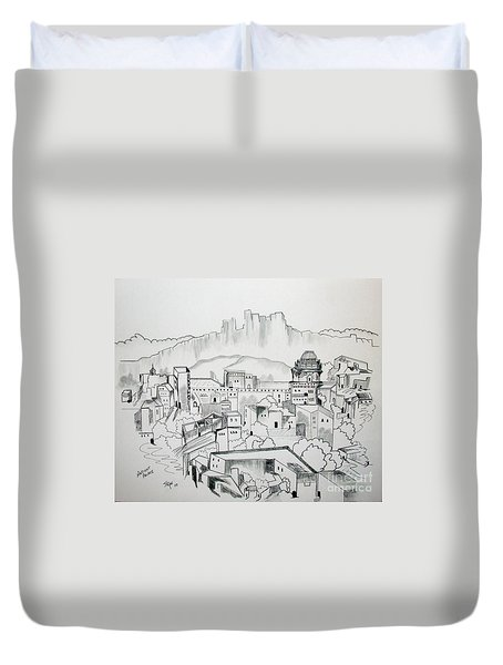 Duvet Cover featuring the drawing Ancient City In Pen And Ink by Janice Rae Pariza