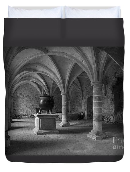 Duvet Cover featuring the photograph Ancient Cloisters. by Clare Bambers