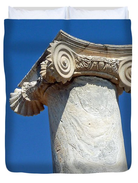 Duvet Cover featuring the photograph Ancient Delos Greece by Cheryl Del Toro