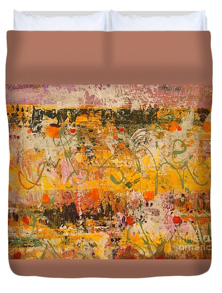 Duvet Cover featuring the painting Ancient Gardens 4 by Nancy Kane Chapman
