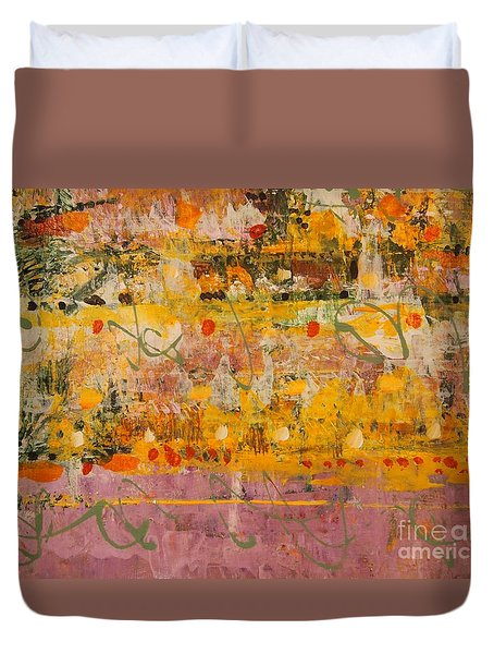 Duvet Cover featuring the painting Ancient Gardens  by Nancy Kane Chapman