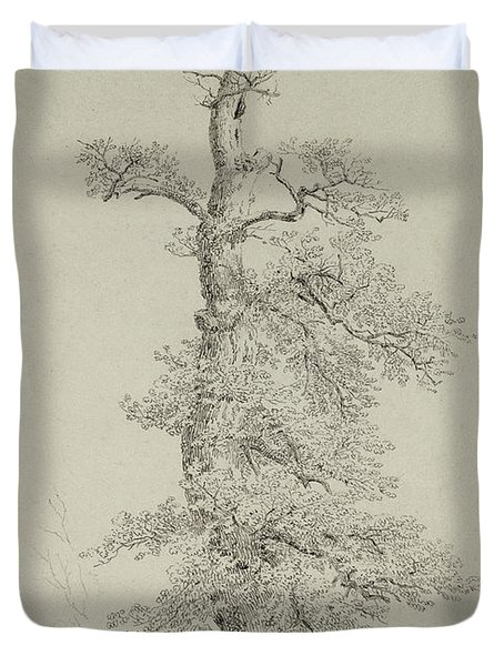 Ancient Oak Tree With A Storks Nest Duvet Cover