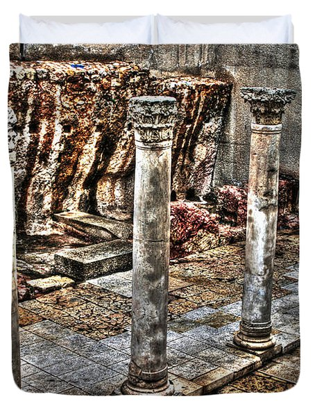 Duvet Cover featuring the photograph Ancient Roman Columns In Israel by Doc Braham
