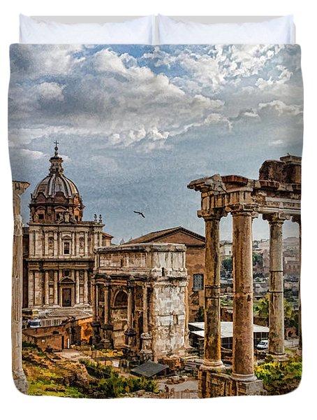 Ancient Roman Forum Ruins - Impressions Of Rome Duvet Cover