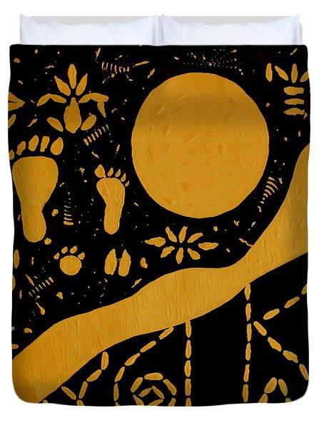 Ancient Worship Tribal Art Duvet Cover by Georgeta  Blanaru