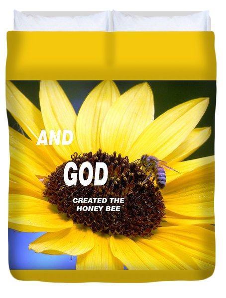 And God Created The Honey Bee Duvet Cover by Belinda Lee