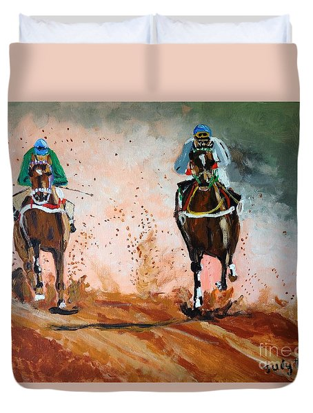 Duvet Cover featuring the painting And The Winner Is by Judy Kay