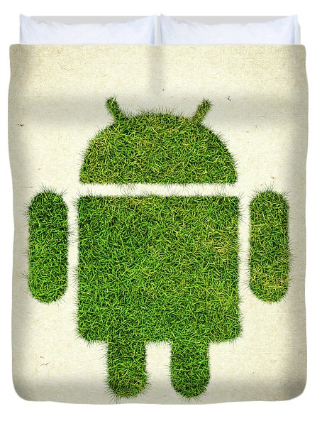 Andoird Grass Logo Duvet Cover by Aged Pixel