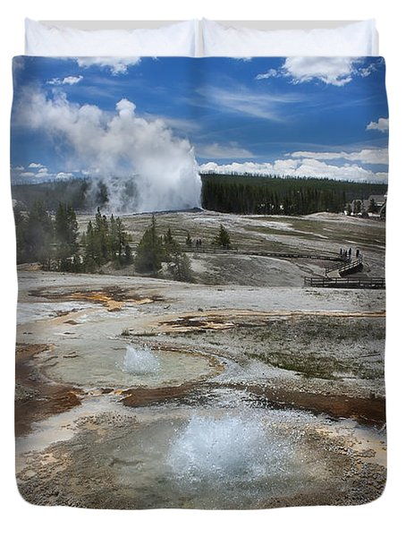 Anemone And Old Faithful In Concert Duvet Cover