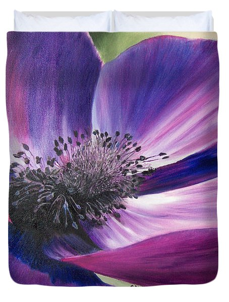 Anemone Coronaria Duvet Cover by Claudia Goodell