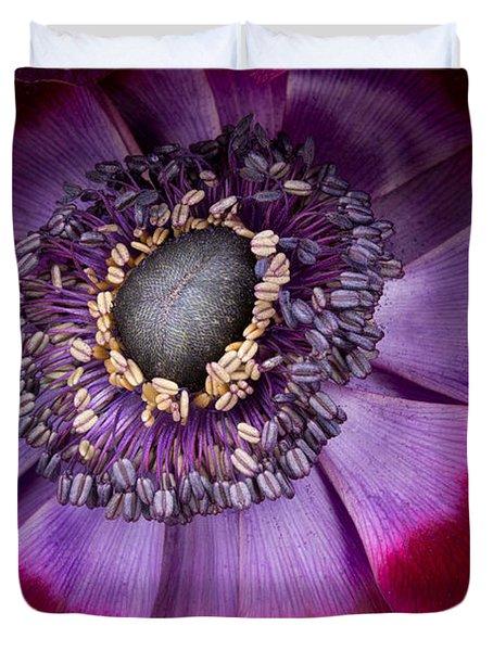 Anemone Coronaria  Macro Duvet Cover by Ann Garrett