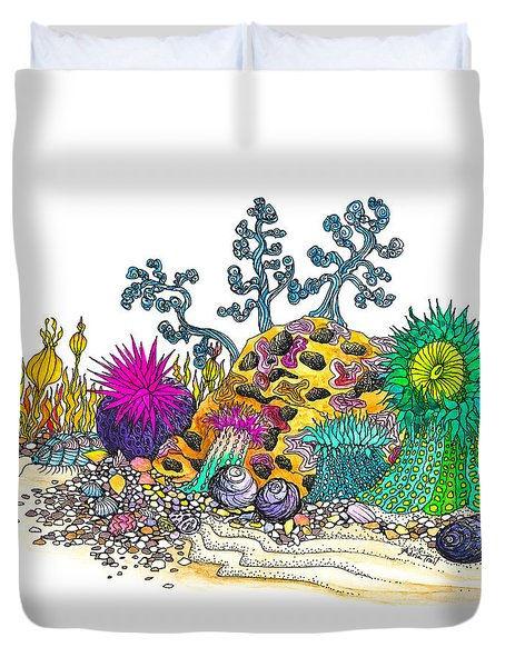 Duvet Cover featuring the photograph Anemone Garden by Adria Trail