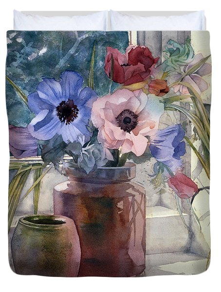 Anemones Duvet Cover by Julia Rowntree