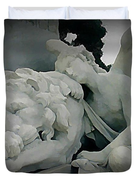 Angel And Lion Statue Duvet Cover by John Malone