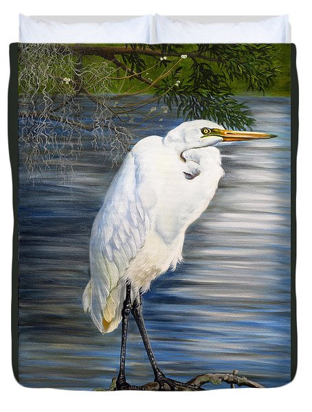 Angel At Sylvia's Pond Duvet Cover by Phyllis Beiser