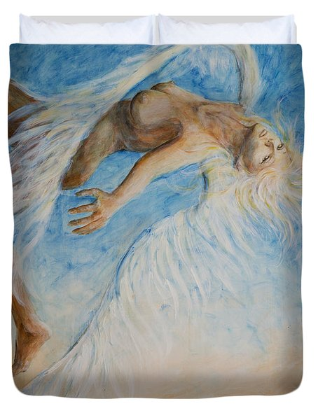 Duvet Cover featuring the painting Angel Blu Drifter by Nik Helbig