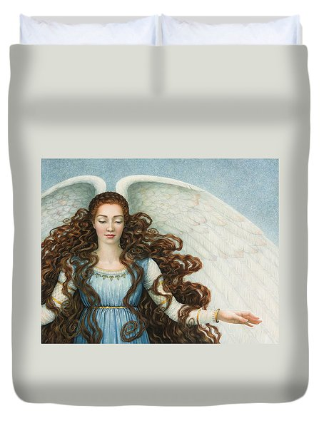 Angel In A Blue Dress Duvet Cover