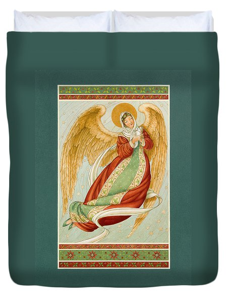 Angel In Green Slippers Duvet Cover