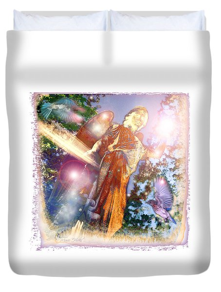 Duvet Cover featuring the photograph Angel Light by Marie Hicks