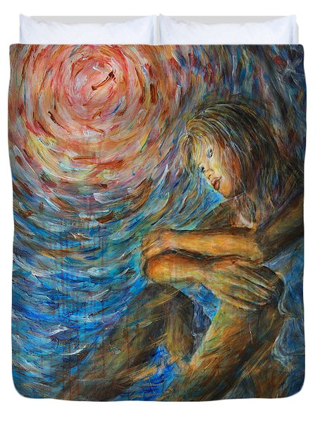 Duvet Cover featuring the painting Angel Moon I by Nik Helbig