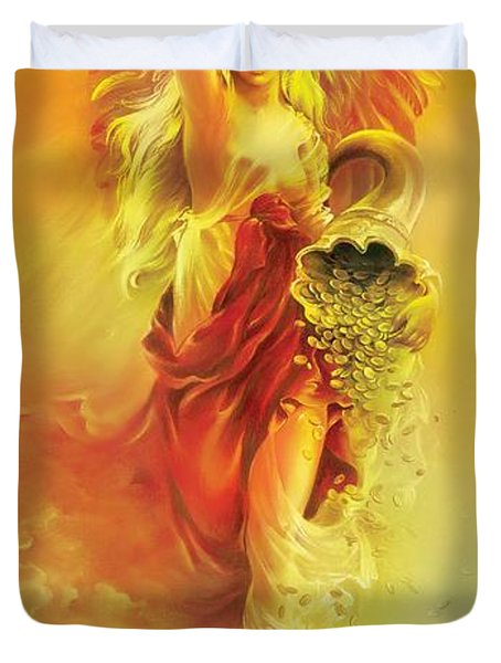 Angel Of Abundance - Fortuna Duvet Cover